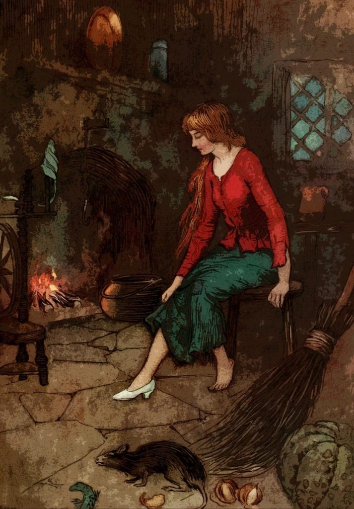 vintage drawing of Cinderella sitting by the fire in a dreary kitchen, looking at her one glass slipper