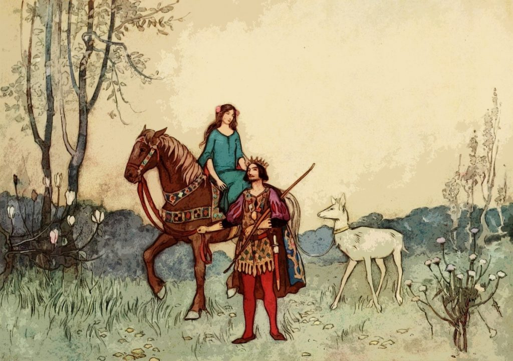 vintage drawing of prince leading horse through landscape with woman sitting sidesaddle on the horse and a white deer tethered behind