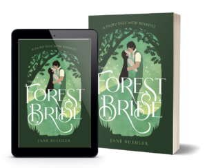 cover of The Forest Bride showing a drawing of a couple kissing in a forest, on a tablet and a paperback