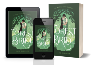 cover of The Forest Bride showing a drawing of a couple kissing in a forest, on a tablet, smartphone, and paperback